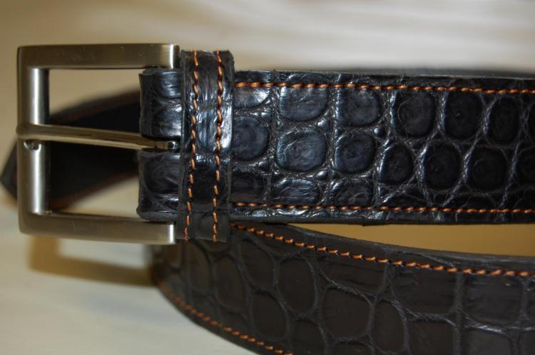 Ceinture en cuir de crocodile